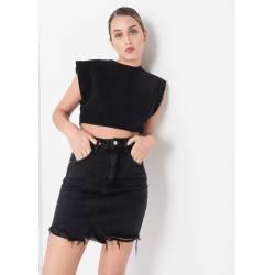 Falda mini vaquera negra